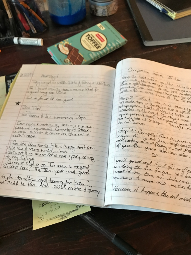 Writing in a notebook, competition and chocolate