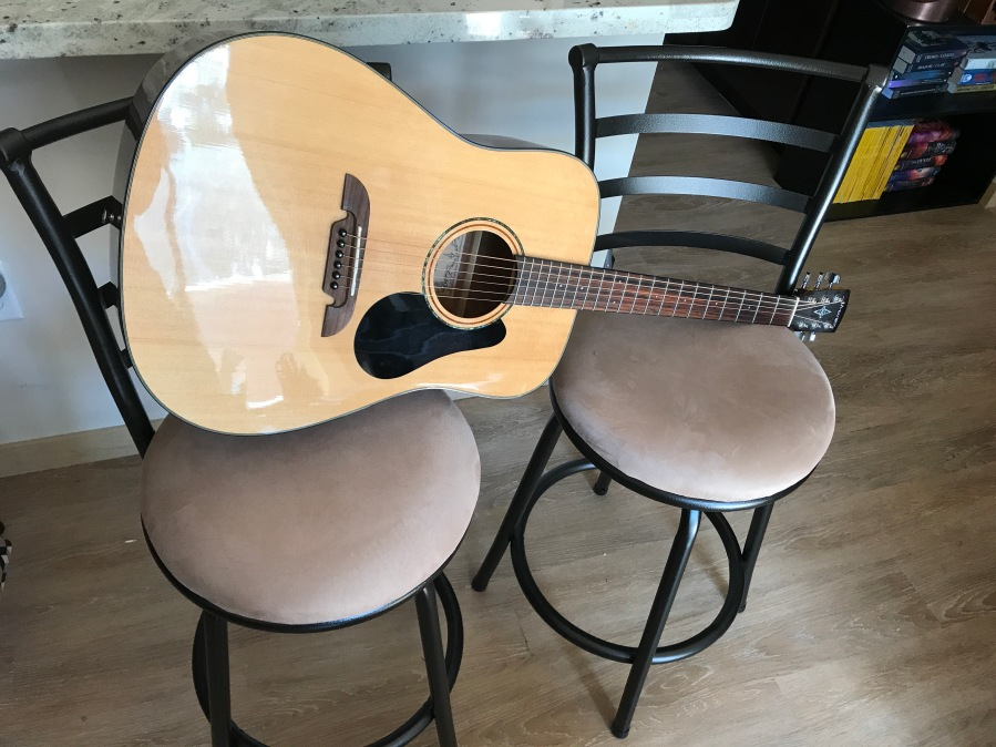 Alvarez Guitar on two stools