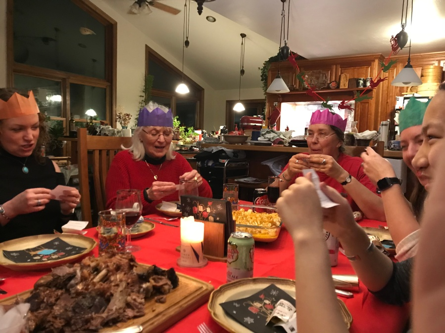 Christmas with hats and food!